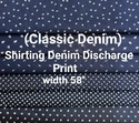 Shirting Denim Discharge Print (Classic Denim)