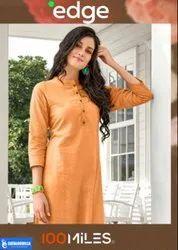 Regular Casual Wear 100 Miles - Edge Cotton Linen Kurtis