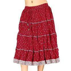 Silver Red Pure Cotton Short Skirt 115