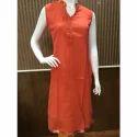 Orange Plain Regular Cotton Collar Kurti, Size: Xl