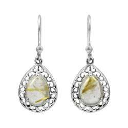 Jumbo 925 Sterling Silver Golden Rutile Earrings