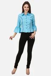 Crepe Blue and Black Plain Ladies Shirt