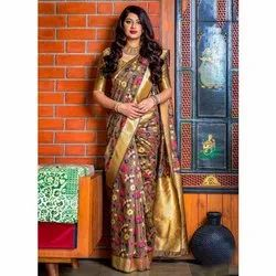 Casual Wear Printed Ladies Silk Saree, Machine Made, 6.3 m (with blouse piece)