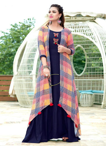 63962e524b12 Rayon 3/4th Sleeve Party Wear Double Layer Printed Kurtis, Rs 1075 ...