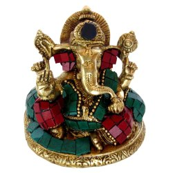 Brass Ganesha with Stone Work