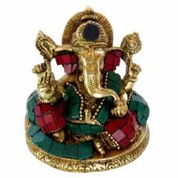 Multicolor Brass Ganesha with Stone Work