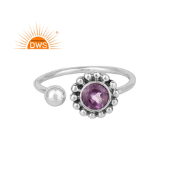 Natural Purple Amethyst Gemstone 925 Silver Oxidized Ring Jewelry