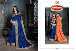 Fancy Digital Bordered Saree with Work Blouse - Maria