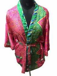 Beautiful Silk Sari Kimono Handmade Caftan Dress, Night Wear - Bathroom Wear