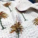 Handmade Palm Tree Block Print Kantha Work Baby Quilt