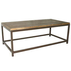 Metal and Wood Square Coffee Table