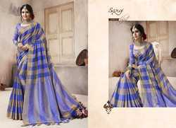 stylishj   Blue Ethnic Plain Saree