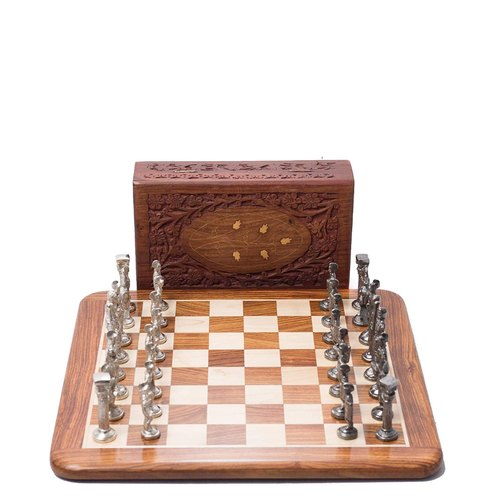 "Paramount Dealz 15"" Flat Brass Chess Roman Figures Board Game Set-Best for Gifting,Home Decor"