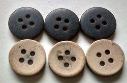Wooden Like Polyester 20 Line Coconut Shell Effect Buttons