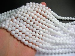 White Agate Smooth Bead Strand