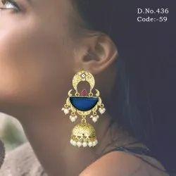 Antique Stone Jhumka Earrings