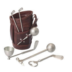 Brown And Silver Leather Golf Bar Set
