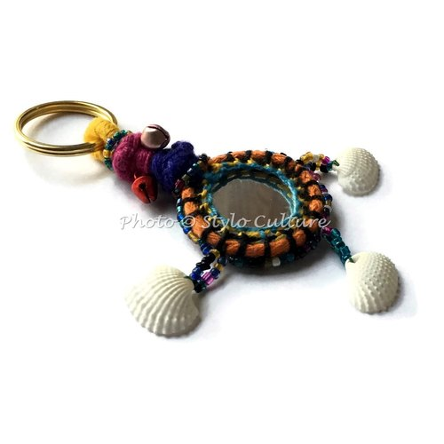 Diwali Boho Silk Thread Mirror Shell & Beads Keyrings