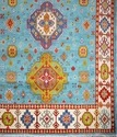 Hand- Knotted Wool Indian Kazak Rug With Blue Color