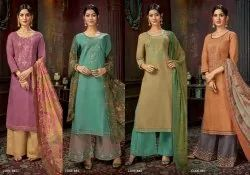 Designer Cotton Suit With Palazzo
