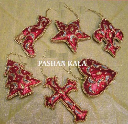 Zari Embroidery Christmas Ornaments ज र कढ ईद र