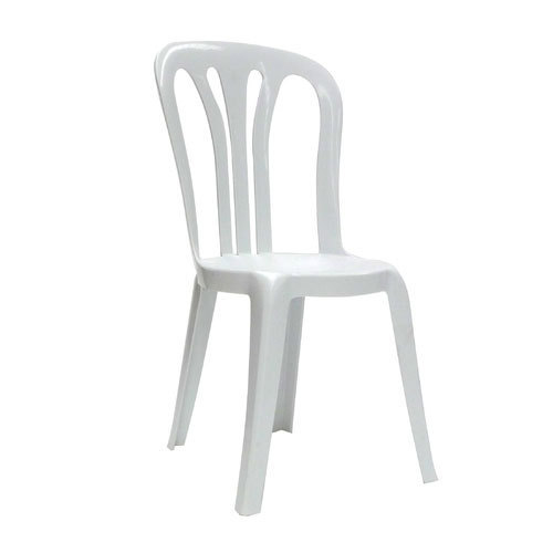 Lawn Chair 40 Oz: White Plastic Armless Chair, Load Capacity: 40 To 80 Kg