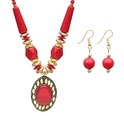 Jewellery Red Pendant Necklace With Chain For Girls And Women