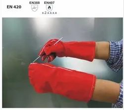 WSRCL/35 Welder Gloves With Red Split Leather