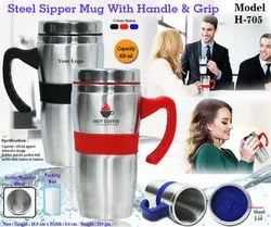 Steel Sipper Mug With Handle & Grip H-705