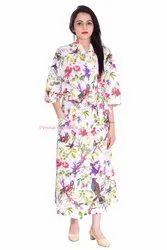 Cotton Bird Print Kimono Bathrobe