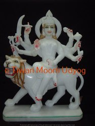 White Marble Sherawali Mata Statue