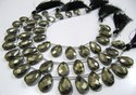 Natural Pyrite Pear Shape Briolette Faceted Beads Size 11x16mm Strand 8 inches