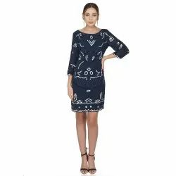 Blue Embroidered Cocktail Dress Navy & White Embellished, Tulle Stretch Dress, Age Group: 30-50