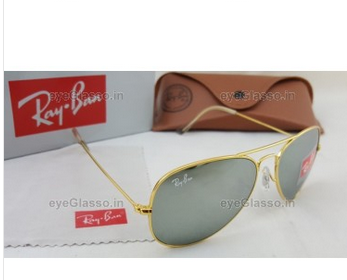b488b43098 RB 3026 Ray Ban Aviator Silver Mercury Golden Sunglasses - Eyeglasso ...