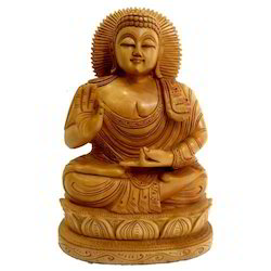 Natural Wooden Sitting Buddha Statue