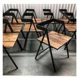 Black Mild Steel Chair, for Cafe