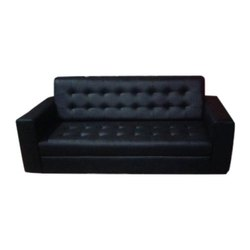 Black Leather Three Seater Designer Sofa, for Sitting, 5 Inch