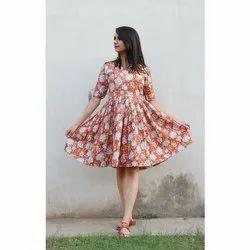 Ladies Printed Flare Dress