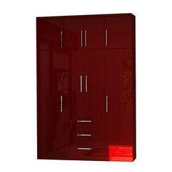 Plywood Red Modular Wardrobe