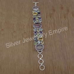 925 Sterling Silver Handmade Jewelry Multi Gemstone Bracelet