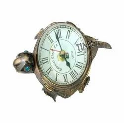 Antique Nautical Tortoise Paper Weight Clock, Packaging Type: Corrugated Box