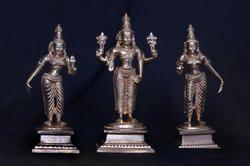 Panchaloha Lord Vishnu With Bhudevi And Srivdevi 5 Inches