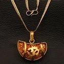 Kaju Rudraksha Om Pendant Handmade Pendant Brass Metal with Synthetic