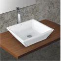 White Ceramic Square Table Top Basin
