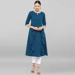 Janasya Women's Turquoise Blue Poly Crepe Ruffle Kurta