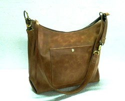 1f00cdd49b Brown HV Crunch Leather Ladies Hobo Bag