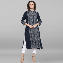 Janasya Women's Blue Cotton Flex Kurta(JNE3524)