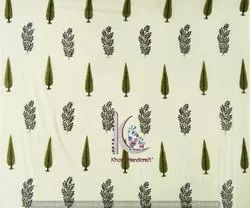 Leaf And Floral Bagru Block Print Cotton Fabric