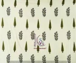 Leaf And Floral Bagru Block Print Cotton Fabric