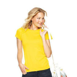 Ladies Cotton Half Sleeve Yellow T Shirt